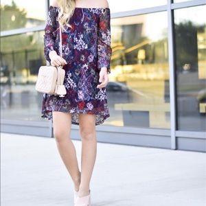 Off the Shoulder Lace Floral Shift Dress